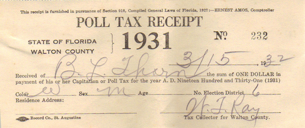 1931 Poll Tax Receipt