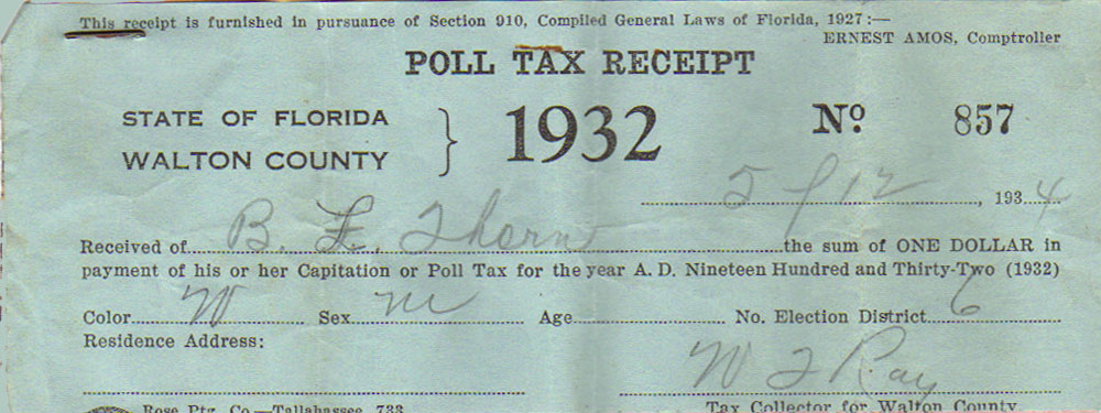 1932 Poll Tax Receipt