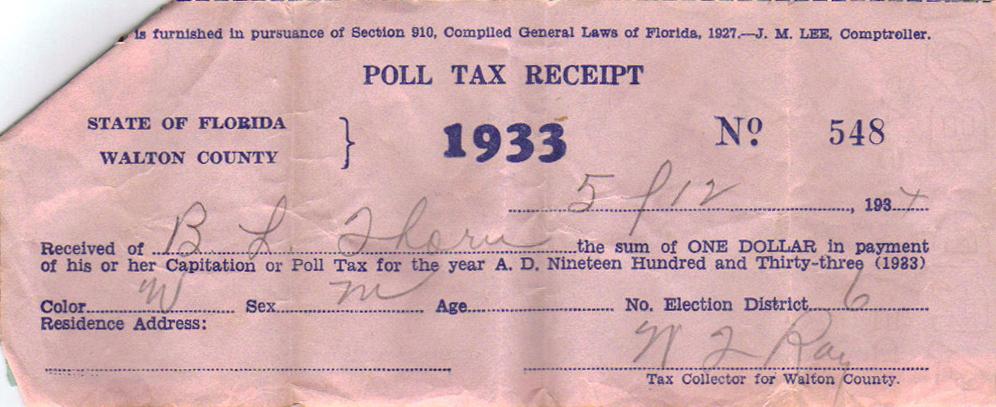 1933 Poll Tax Receipt