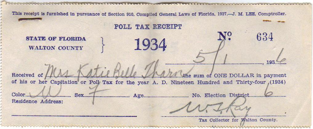 1934 Poll Tax Receipt