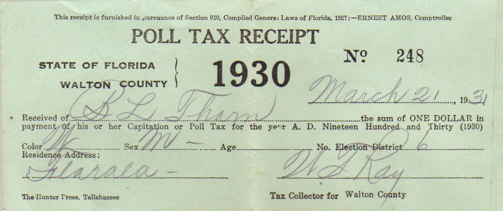 1930 Poll Tax Receipt