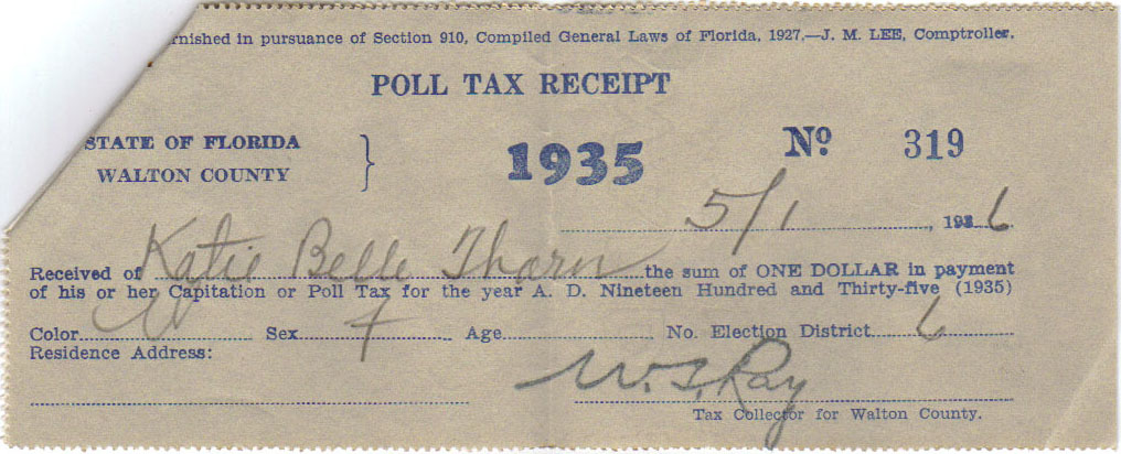 1935 Poll Tax Receipt