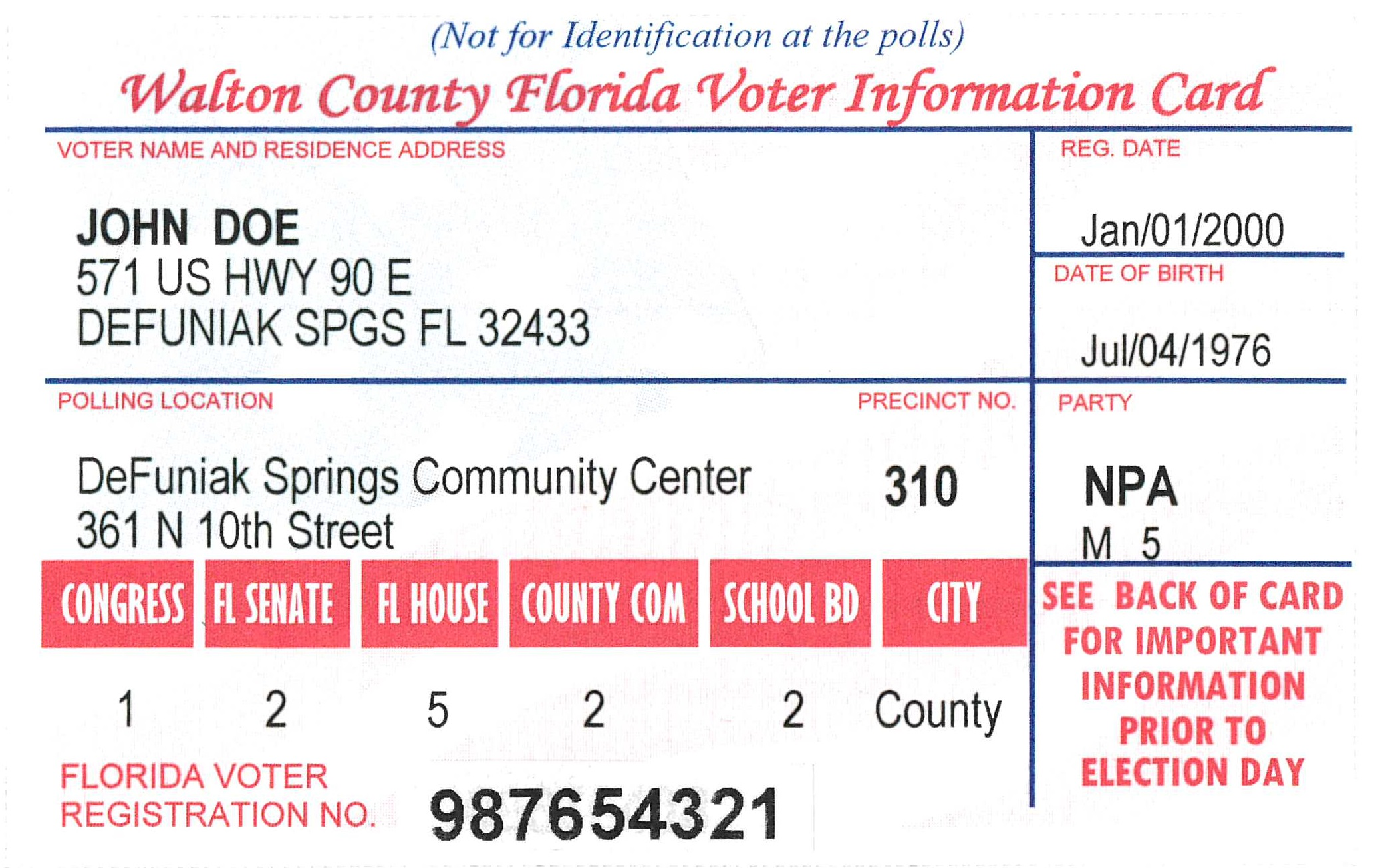 Picture of Voter Information Card